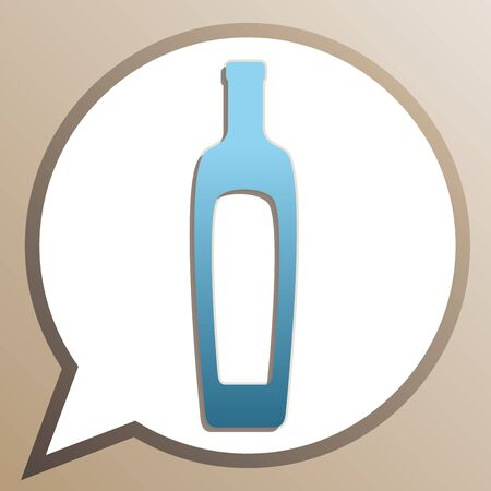 Olive oil bottle sign. Bright cerulean icon in white speech balloon at pale taupe background. Vettoriali