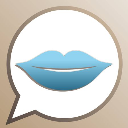 Lips sign illustration. Bright cerulean icon in white speech balloon at pale taupe background. Ilustracje wektorowe