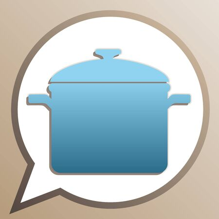 Cooking pan sign. Bright cerulean icon in white speech balloon at pale taupe background.