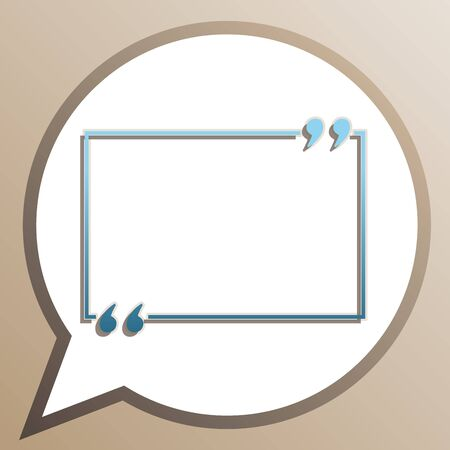 Text quote sign. Bright cerulean icon in white speech balloon at pale taupe background. Ilustração