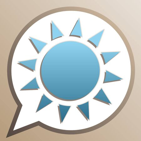 Sun sign illustration. Bright cerulean icon in white speech balloon at pale taupe background.