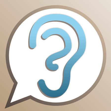 Human anatomy. Ear sign. Bright cerulean icon in white speech balloon at pale taupe background.