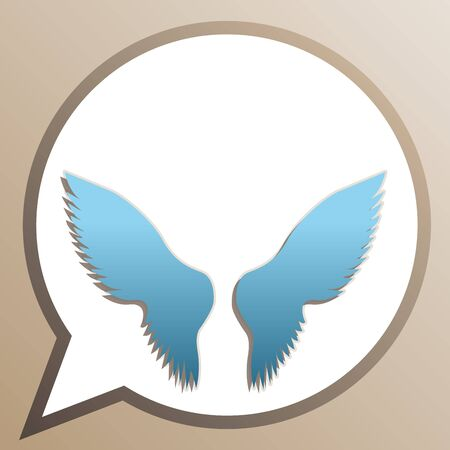 Wings sign illustration. Bright cerulean icon in white speech balloon at pale taupe background.