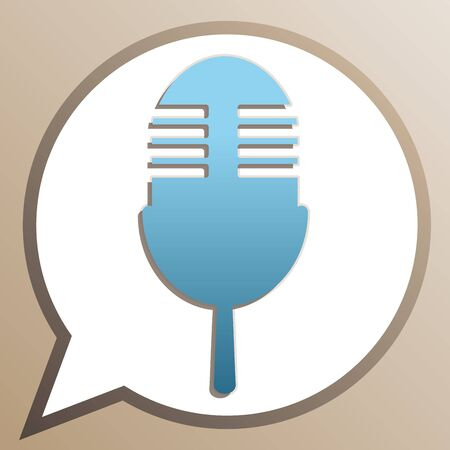 Retro microphone sign. Bright cerulean icon in white speech balloon at pale taupe background.