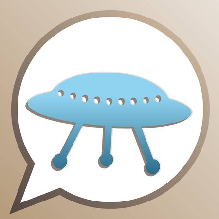 UFO simple sign. Bright cerulean icon in white speech balloon at pale taupe background. Stock Illustratie