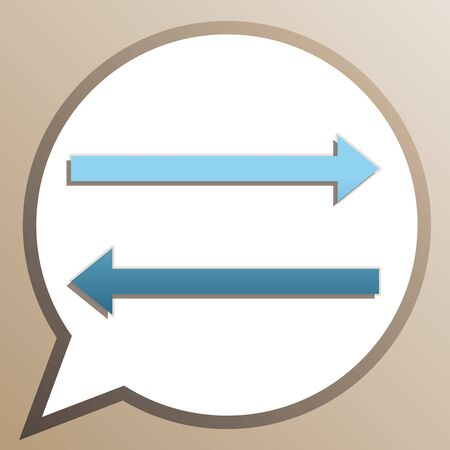 Arrow simple sign. Bright cerulean icon in white speech balloon at pale taupe background.