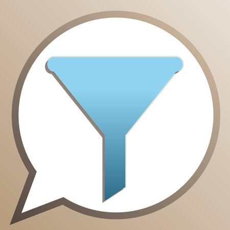 Filter simple sign. Bright cerulean icon in white speech balloon at pale taupe background.