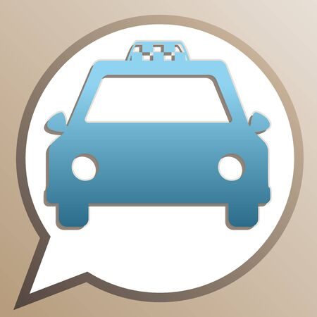 Taxi sign illustration. Bright cerulean icon in white speech balloon at pale taupe background.