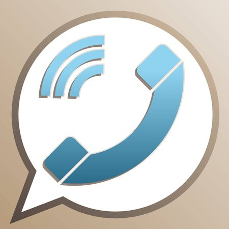 Phone sign illustration. Bright cerulean icon in white speech balloon at pale taupe background. Illustration