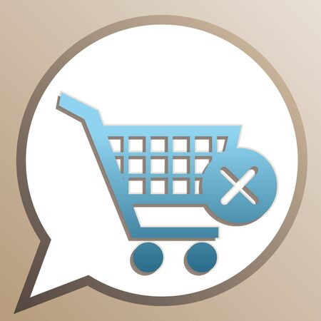 Shopping Cart with delete sign. Bright cerulean icon in white speech balloon at pale taupe background.