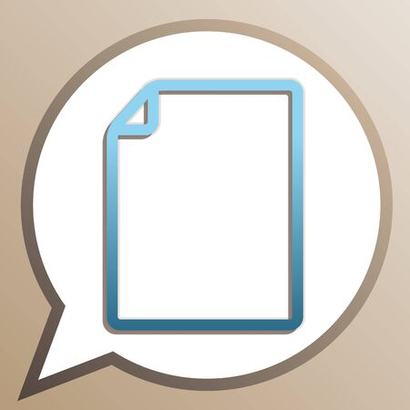 Vertical document sign illustration. Bright cerulean icon in white speech balloon at pale taupe background. Illusztráció