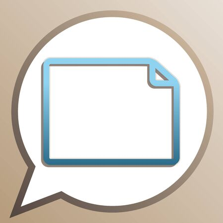Horizontal document sign illustration. Bright cerulean icon in white speech balloon at pale taupe background.