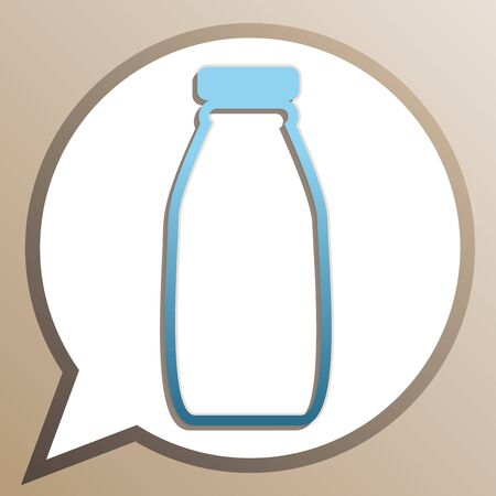 Milk bottle sign. Bright cerulean icon in white speech balloon at pale taupe background.