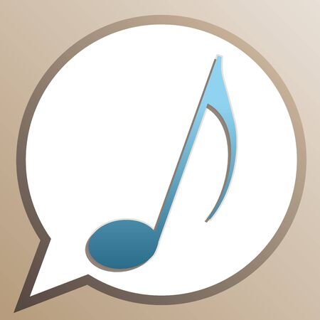 Music note sign. Bright cerulean icon in white speech balloon at pale taupe background.