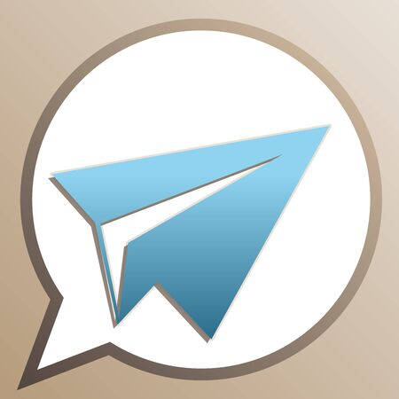Paper airplane sign. Bright cerulean icon in white speech balloon at pale taupe background.