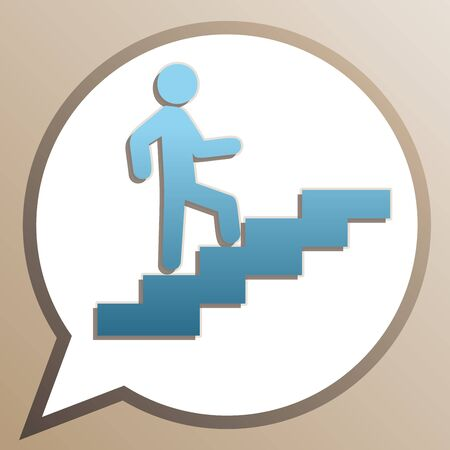 Man on Stairs going up. Bright cerulean icon in white speech balloon at pale taupe background. Banque d'images - 128330850