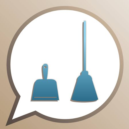 Dustpan equipment. Bright cerulean icon in white speech balloon at pale taupe background. Stock Illustratie