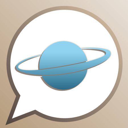 Planet in space sign. Bright cerulean icon in white speech balloon at pale taupe background.