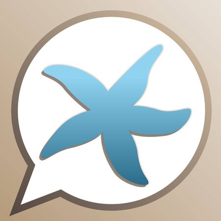 Sea star sign. Bright cerulean icon in white speech balloon at pale taupe background.