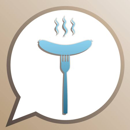 Sausage on fork sign. Bright cerulean icon in white speech balloon at pale taupe background. Illusztráció