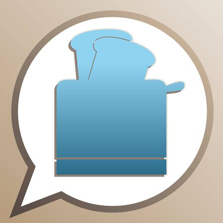 Toaster simple sign. Bright cerulean icon in white speech balloon at pale taupe background.  イラスト・ベクター素材