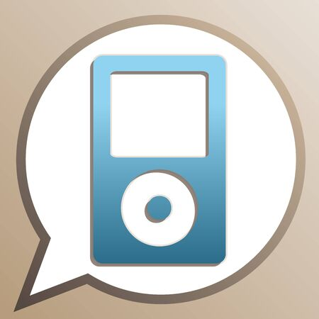 Portable music device. Bright cerulean icon in white speech balloon at pale taupe background.