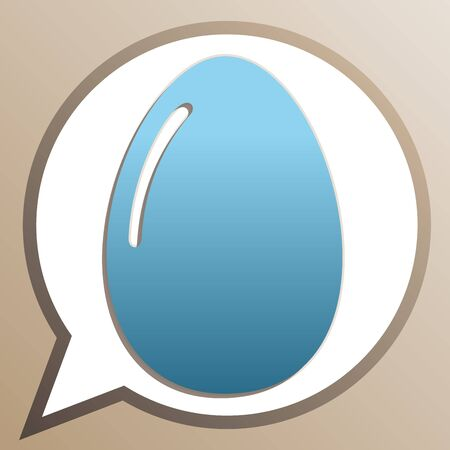 Chicken egg sign. Bright cerulean icon in white speech balloon at pale taupe background.  イラスト・ベクター素材
