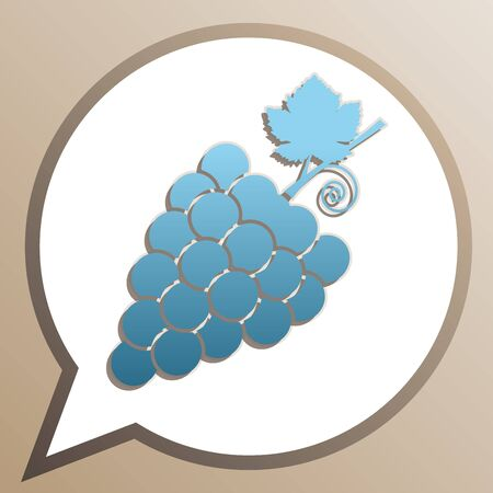 Grapes sign illustration. Bright cerulean icon in white speech balloon at pale taupe background.
