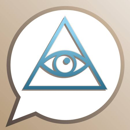 All seeing eye pyramid symbol. Freemason and spiritual. Bright cerulean icon in white speech balloon at pale taupe background.  イラスト・ベクター素材