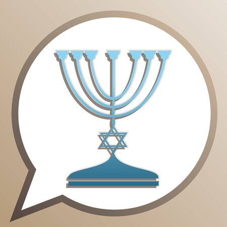 Jewish Menorah candlestick in black silhouette. Bright cerulean icon in white speech balloon at pale taupe background. Ilustrace