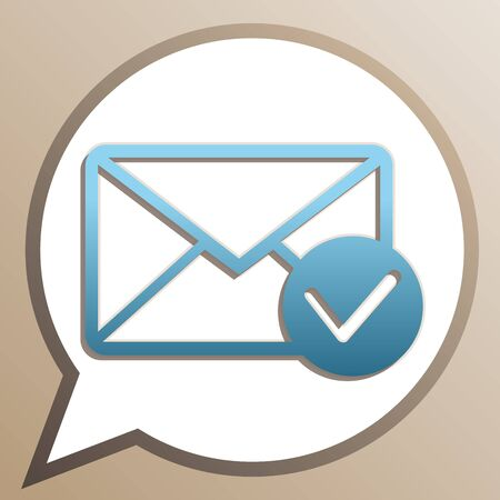 Mail sign illustration with allow mark. Bright cerulean icon in white speech balloon at pale taupe background.