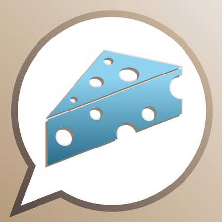 Cheese sign. Bright cerulean icon in white speech balloon at pale taupe background.