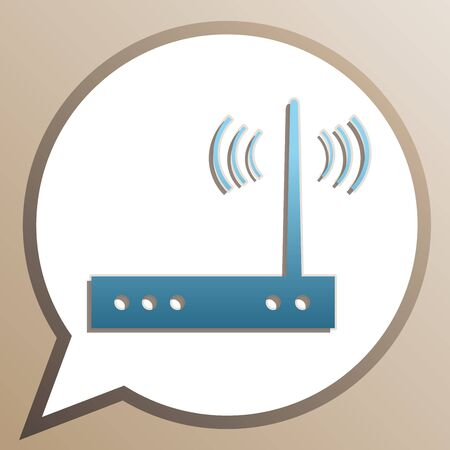 Wifi modem sign. Bright cerulean icon in white speech balloon at pale taupe background.