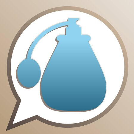 Perfume icon. Bright cerulean icon in white speech balloon at pale taupe background.