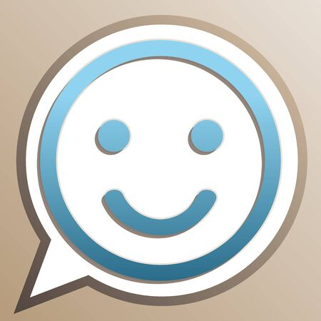 Smile icon. Bright cerulean icon in white speech balloon at pale taupe background. Illusztráció