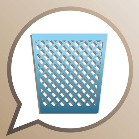 Trash sign illustration. Bright cerulean icon in white speech balloon at pale taupe background.  イラスト・ベクター素材