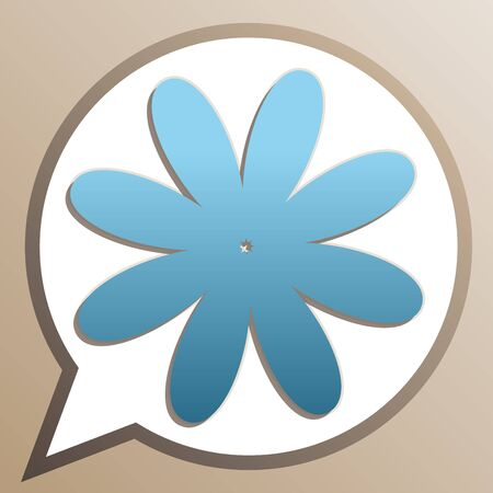 Flower sign illustration. Bright cerulean icon in white speech balloon at pale taupe background.
