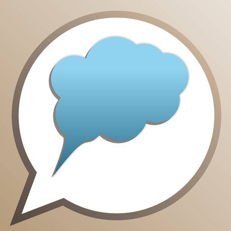 Speech bubble sign illustration. Bright cerulean icon in white speech balloon at pale taupe background.