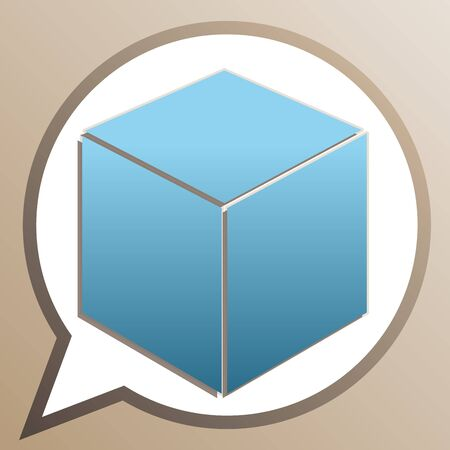Cube sign illustration. Bright cerulean icon in white speech balloon at pale taupe background.