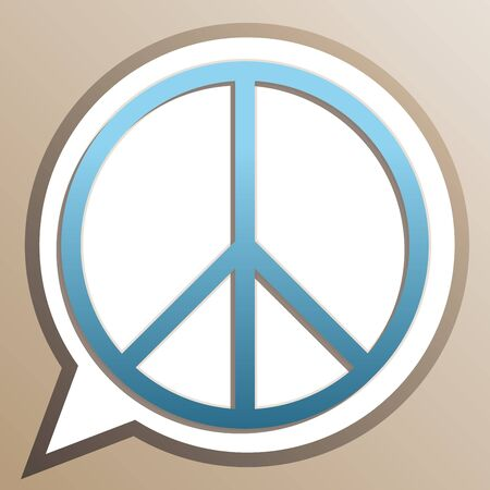 Peace sign illustration. Bright cerulean icon in white speech balloon at pale taupe background. Illusztráció