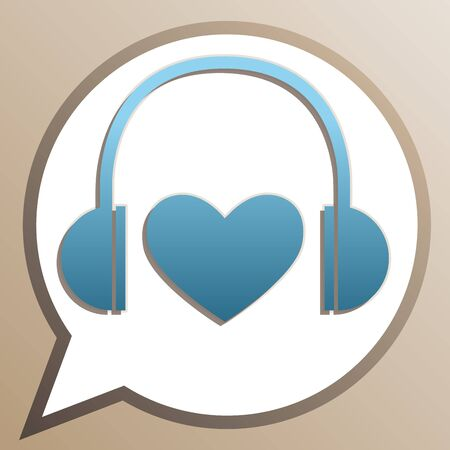 Headphones with heart. Bright cerulean icon in white speech balloon at pale taupe background.
