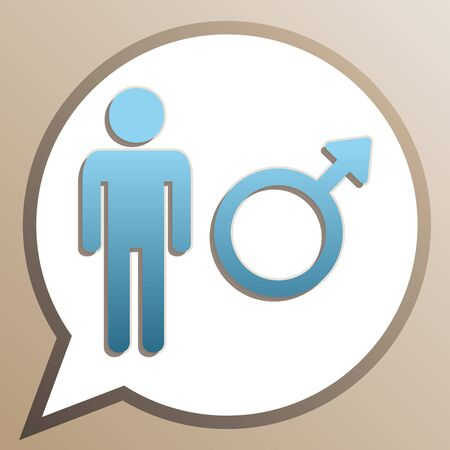 Male sign illustration. Bright cerulean icon in white speech balloon at pale taupe background.