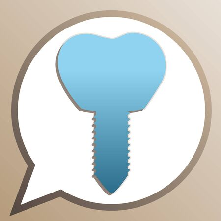 Tooth implant sign illustration. Bright cerulean icon in white speech balloon at pale taupe background.