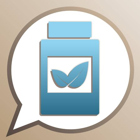 Supplements container sign. Bright cerulean icon in white speech balloon at pale taupe background.