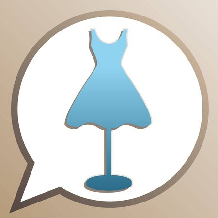 Mannequin with dress sign. Bright cerulean icon in white speech balloon at pale taupe background. Ilustrace