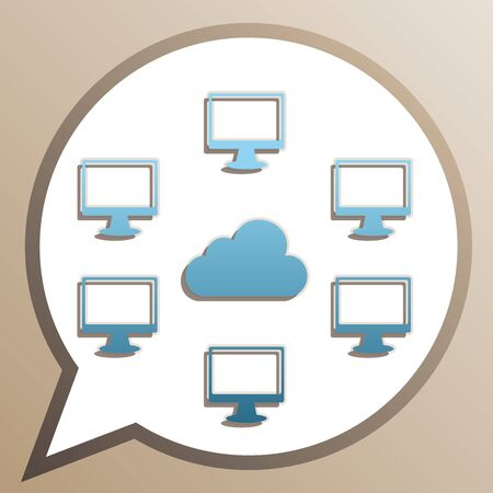 Computers sign. Bright cerulean icon in white speech balloon at pale taupe background.