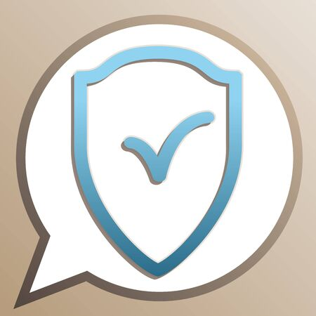 Shield sign as protection and insurance symbol. Bright cerulean icon in white speech balloon at pale taupe background.