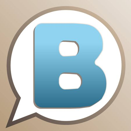 Letter B sign design template element. Bright cerulean icon in white speech balloon at pale taupe background.
