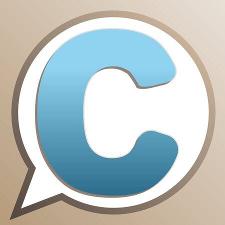 Letter C sign design template element. Bright cerulean icon in white speech balloon at pale taupe background.