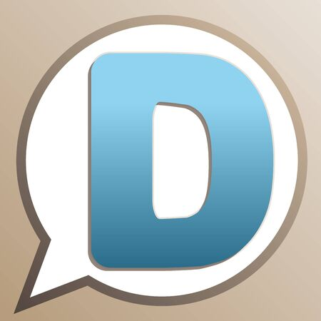 Letter D sign design template element. Bright cerulean icon in white speech balloon at pale taupe background. Ilustrace